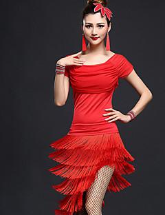 라틴 댄스 의상 여성용 성능 친론 나일론 2 개 짧은 소매 높음 탑 스커트