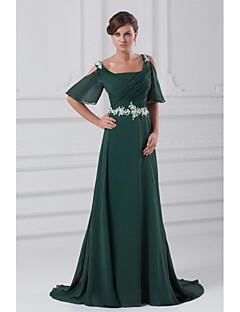 포멀 이브닝 드레스 A-라인 사각형 코트 트레인 쉬폰 와 아플리케 / 비즈 / 주름