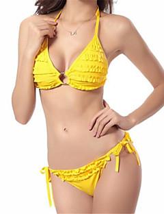 Polyester / SpandexHalter-Bikini-Effen / Inrijgen-Vrouwen