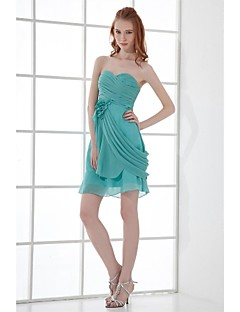 Short / Mini Chiffon Bridesmaid Dress Sheath / Column Sweetheart with Flower(s) / Side Draping