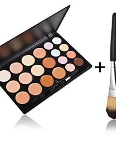 20 farger kontur ansiktskrem makeup concealer palette + 1 stk høy kvalitet pulver pensel