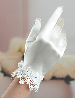 Wrist Length Fingertips Glove Satin / Elastic Satin Bridal Gloves / Party/ Evening Gloves Spring / Summer / Fall / WinterRhinestone /