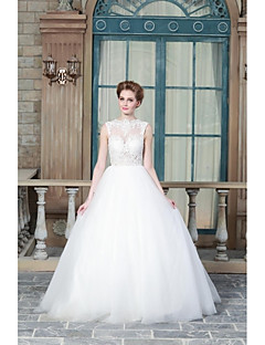 A-line Wedding Dress Sweep / Brush Train Jewel Satin with Appliques