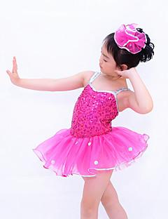 Danse classique Robes Enfant Spectacle Chinlon Organza Paillété Ruché Pois 2 Pièces Sans manche Taille moyenne Robe Coiffures
