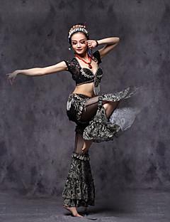 ריקוד בטן תלבושות בגדי ריקוד נשים ביצועים תחרה / ויסקוזה / מתכתקריסטלים / rhinestones / עטוף / Paillettes / תחרה / דפוס / הדפסה / קפלים /