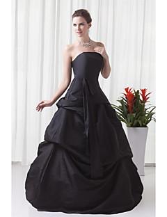 Formeller Abend Kleid A-Linie Trägerlos Boden-Länge Taft mit Plissee