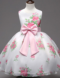 Princess Knee-length Flower Girl Dress - Chiffon Cotton Jewel with Bow(s) Pattern / Print