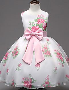 Princess Ke kolenům Šaty pro květinovou družičku - Šifón Bavlna Bez rukávů Klenot s Mašle Vzor / Tisk