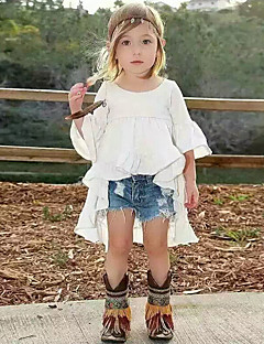 Girl's Cotton Summer  Swallow Tail  Wrinkle Dree Cowboy Shorts  Two-Piece Set
