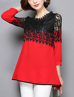 Women's Lace Patchwork Pink / Red / Black Long section Blouse,Casual Lace Cut Out Fashion Round Neck ¾ Sleeve Polyester/Nylon