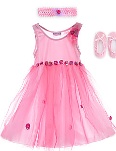 Performance Dresses Children's Performance Spandex / Polyester Flower(s) 2 Pieces Sleeveless Dress / Headpieces 60cm