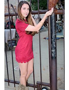 婦人向け ラウンドネック プリーツ / ラッフル ドレス , ポリエステル ミニ 半袖