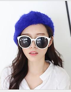Fashion Pure Color Rabbit Fur Beret Princess Female Models Hat