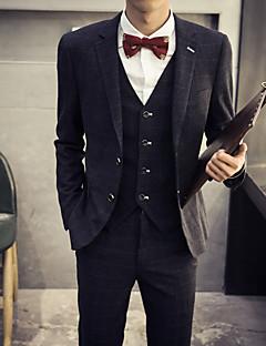 Men's Plaids Casual / Work / Formal Set,Cotton Long Sleeve Black