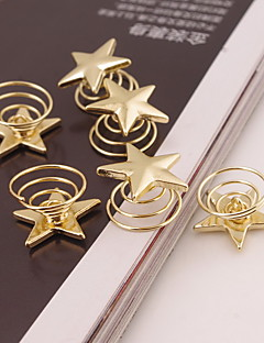 Set of 6 Gold Star Shape Hair Clip Tools for Lady Casul spiral Screw Clamp Hair Jewelry