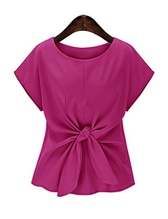 Tee-shirt Aux femmes,Couleur Pleine Décontracté / Quotidien simple Eté Manches Courtes Col Arrondi Bleu / Rouge Polyester Moyen
