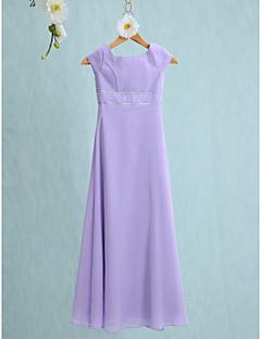 Lanting Bride® Floor-length Chiffon Junior Bridesmaid Dress Sheath / Column Jewel with Buttons