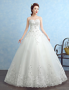 Ball Gown Wedding Dress Floor-length Strapless Tulle with Appliques