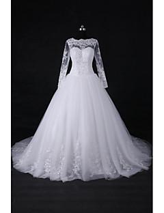 2017 sfera del treno della corte abito da sposa abito gioiello in pizzo / tulle con applicazioni / bordatura / paillettes