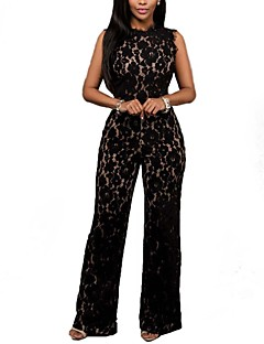 Women's Solid Black Jumpsuits,Sexy Round Neck Sleeveless