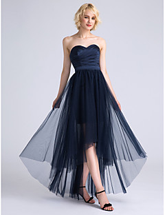 Lanting Bride® Asymmetrical Satin / Tulle Bridesmaid Dress A-line Sweetheart with Criss Cross / Ruching