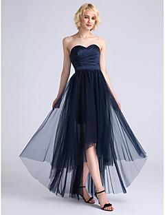 2017 Lanting bride® asymetrické satén / tyl družička šaty - na linii srdíčko