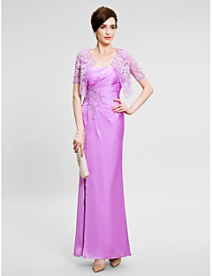 Lanting Bride Sheath / Column Mother of the Bride Dress Ankle-length Sleeveless Satin Chiffon with Appliques / Lace