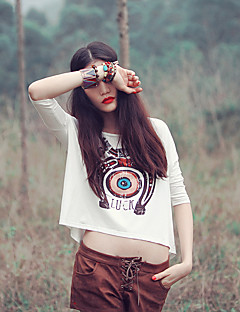 Aporia.As® Damen Rundhalsausschnitt Kurze Ärmel Shirt & Bluse Weiß / Grau-Y0079