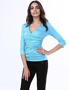Damen Solide Einfach Lässig/Alltäglich T-shirt,Tiefes V Frühling ¾-Arm Blau / Schwarz / Lila Polyester / Elasthan / Andere Mittel
