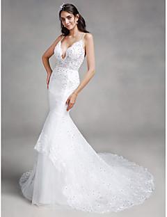 Lanting Bride® 트럼펫 / 머메이드 웨딩 드레스 채플 트레인 스파게티 스트랩 레이스 / 튤 와 아플리케 / 스팽글