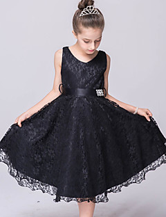 A-line Knee-length Flower Girl Dress - Lace Tulle V-neck with Sash / Ribbon