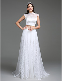 Lanting Bride® A-line Wedding Dress Sweep / Brush Train High Neck Lace / Organza / Satin with Button / Split