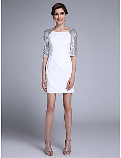 Lanting Bride® Strak/kolom Bruidsmoederjurken Kort / Mini Halve mouw Chiffon - Pailletten