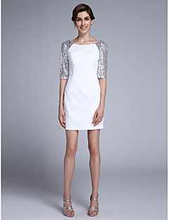 Lanting Bride® Eng anliegend Brautmutterkleid Kurz / Mini Halbe Ärmel Chiffon - Pailletten