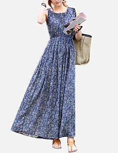 Mulheres Tamanhos Grandes / Chifon / Swing Vestido,Casual / Férias Boho Estampado Decote Redondo Médio Sem Manga Azul Poliéster Verão