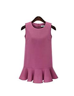 Sukienka Obuwie damskie Wyjściowe / Rozmiar plus Wyrafinowany styl Jendolity kolor,Okrągły dekolt Mini Bez rękawów Czerwony / Czarny Len