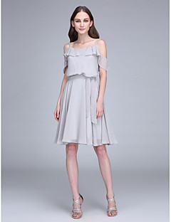 Lanting Bride® Knee-length Chiffon Bridesmaid Dress A-line Spaghetti Straps with