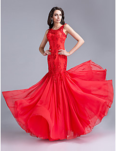 Formal Evening Dress Trumpet / Mermaid Scoop Floor-length Chiffon / Lace with Appliques / Beading