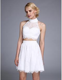 ts couture® vestido de cóctel una línea cabestro corto / mini de encaje con rebordear botones /