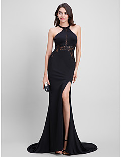 TS Couture® Formal Evening Dress Trumpet / Mermaid Jewel Sweep / Brush Train Jersey with Lace
