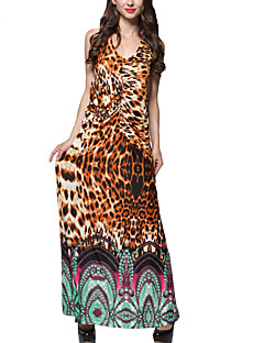 Women's Going out Boho Plus Size / Swing Dress,Leopard U Neck Maxi Sleeveless Brown Polyester Summer