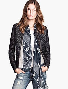 Women's Solid Black Jackets Casual Stand Long Sleeve