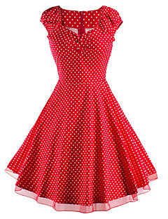 Women's Going out / Casual/Daily Vintage / Street chic Sheath Dress,Polka Dot Sweetheart Knee-length Short Sleeve