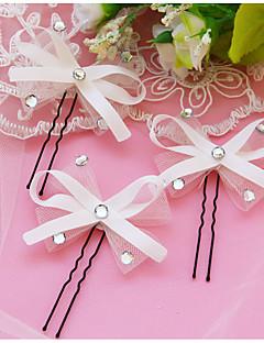 Mulheres Cetim / Renda / Pérola Capacete-Casamento / Ocasião Especial Alfinete de Cabelo / Cabelo da vara 3 Peças Branco