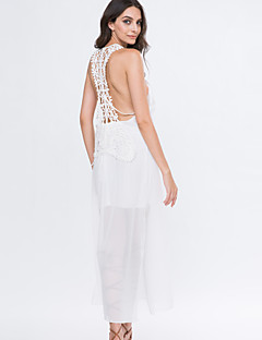 Women's Lace/Backless Beach Swing Dress,Solid Deep U Maxi Sleeveless White Summer