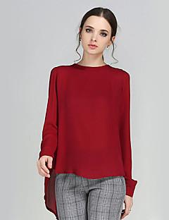 אחיד צווארון עגול קצר מידות גדולות / סגנון רחוב יום יומי\קז'ואל חולצה נשים,סתיו שרוול ארוך כחול / אדום / צהוב בינוני (מדיום) פוליאסטר