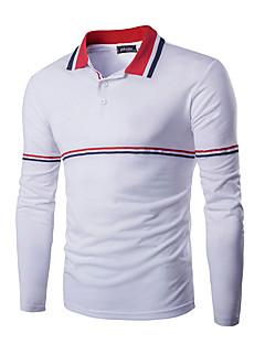 Men's Long Sleeve Polo,Cotton Casual / Sport Striped