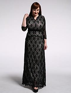 SWEET CURVE Women's Holiday / Plus Size Boho Trumpet/Mermaid Dress,Polka Dot Asymmetrical Maxi ¾ Sleeve Black Spandex Summer