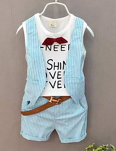 Boy's Casual/Daily Print Clothing Set,Cotton Summer / Spring Black / Blue / White