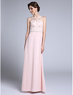 2017 Lanting Bride® Sheath / Column Mother of the Bride Dress Floor-length Sleeveless Chiffon with Crystal Detailing